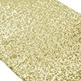 ShinyBeauty Sparkly Light Gold Sequin Table Runner For Wedding/Events Decoration 30*180cm( Can Choose Your Color) (Light Gold Color )