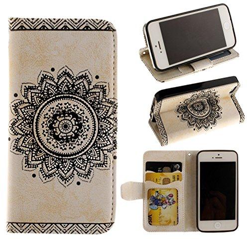 """MOONCASE iPhone 6S Coque Mandala Feur Portefeuille Porte-cartes Housse en Cuir Etui à rabat TPU Case avec Béquille pour iPhone 6 / 6S 4.7"""" Blanc Blanc"""