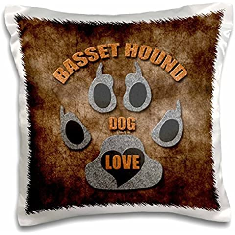 Doreen Erhardt Dog Breed Collection - Basset Hound Love Dog Breed in Gray and Brown - 16x16 inch Pillow Case