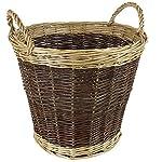 JVL, cesto di vimini per ciocchi di legno, con due maniglie, bi-colore
