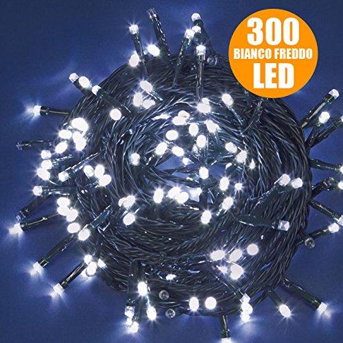 Catena Luci a LED Luminosa Natalizia 300 LED Bianco Freddo con giochi di luce, cavo verde, luci di Natale, luci Bianco Freddo, luci per l'albero di Natale, Con Controller per 8 Giochi di Luce e Memori