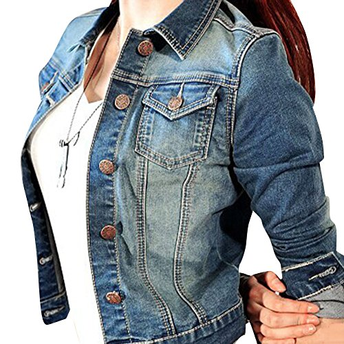 SaiDeng Donna Giacca Breve Manica Lunga Giacca Di Jeans M