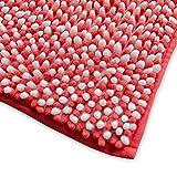 casa pura Chenille Badematte Manta | moderner Microfaser Badvorleger in Trendfarben | ÖKO TEX Standard 100 | extra hoch | Komfortgröße 50x80 cm für Badezimmer | Koralle - Weiß