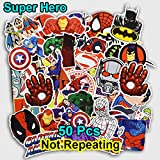 Channeltoys - Lot de 50pcs Stickers / autocollants Super heros - Pas de double - Neuf