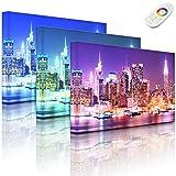 Lightbox-Multicolor | Leuchtendes LED Bild | New York City, Skyline Brücke bei Nacht | 100x70 cm | Fully Lighted