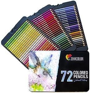 Zenacolor – 120 Lápices de Colores con Caja de Metal – 120 Colores Únicos – Fácil Acceso con 3 Bandejas