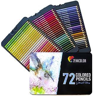 Lápices de Colores (72, 120 con Caja de Metal) de Zenacolor – 72 y 120 Colores Únicos – Fácil Acceso con Bandejas – Conjunto Ideal para Artistas, Adultos y Niños