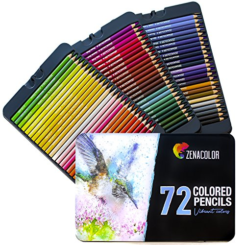 72 Matite Colorate (Numerato) con Scatola in Metallo - Regalo Ideale per Artisti
