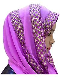 BOZEVON Mujeres Moda Hermoso Color sólido Encaje musulmán islámico largo Hijab Fular Bufanda Pañuelo para la cabeza, 12 colores