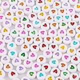 Wuderland 100st Child acryl platte kraal Alfabet Nummer Beads voor sieraden maken DIY Ketting Armband, Peach Heart