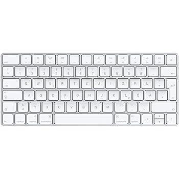 Apple Magic MLA22D/A Tastatur (QWERTZ, Multimediatasten,Wiederaufladbar) Silber / Weiß