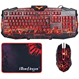 Gaming Keyboard And Mouse Combo-BlueFinger® USB Wired LED Backlit 3Color Adjustable Keyboard And Mouse Set With Cool Crack Pattern Adjustable Color Mouse + BlueFinger® Customized Gaming Mouse Pad
