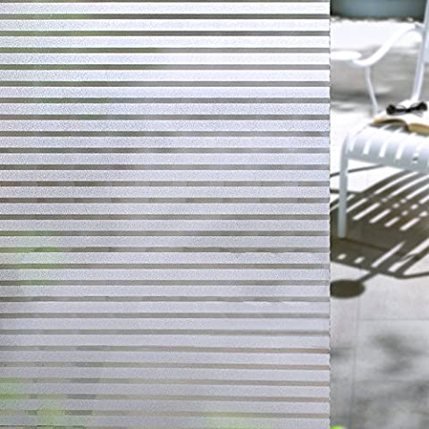 Concus T-Static Cling vinilo premium Frosted rayas de privacidad lámina para ventanas, 60x200cm
