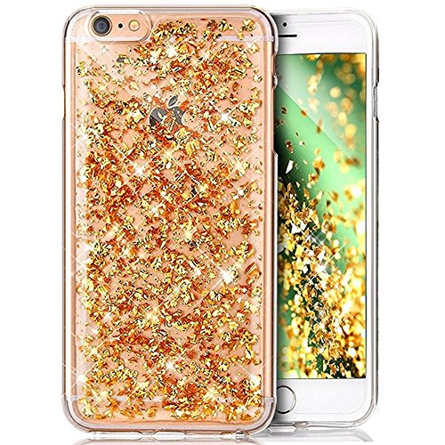 Coque iPhone 6S,Coque iPhone 6,ikasus Shiny Sparkly Bling Glitter Paillettes brillant cristal [feuille d'or] Transparente Silicone Gel TPU Souple Housse Etui Coque pour iPhone 6S /6,D'or Feuille d'or
