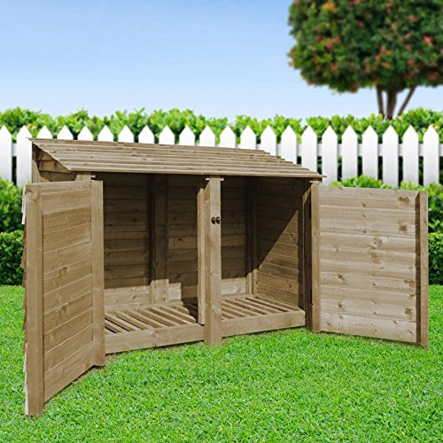 Rutland County Garden Furniture HAMBLETON 4FT - WOODEN LOG STORE/GARDEN STORAGE WITH DOORS, GREEN, HEAVY DUTY, HAND MADE, PRESSURE TREATED.