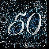 Unique Papierservietten mit Foliendruck für den 50. Geburtstag,blau,16er pack