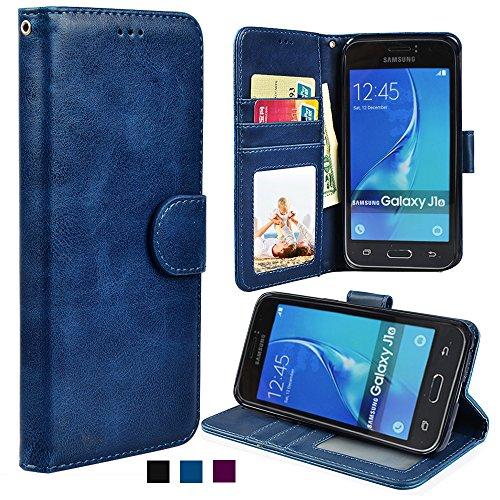 MyArmor grana PU Custodia cellulare in pelle per Samsung Galaxy J1(2016)/Express 3/AMP 2 blu