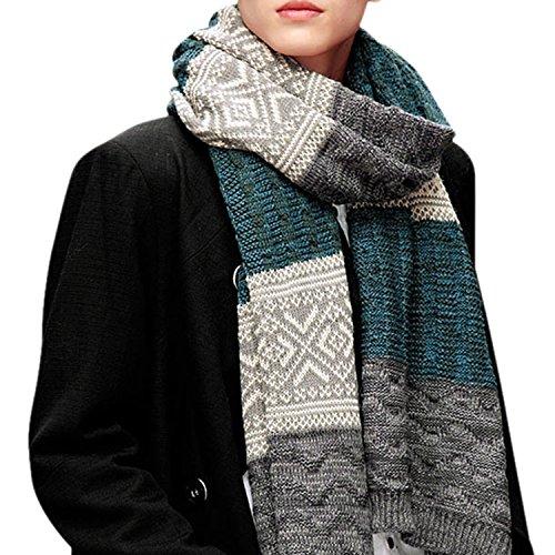 CHIC-CHIC Herren Frauen lang Schal Winter Fashion groß warm weich Strickschal Loopschal Weiseschal (Blau)