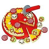 BINO 83412 | Schneide - Pizza aus Holz zum belegen | 31 Teilen | Inklusive Schneidebrett und Pizzaschneider