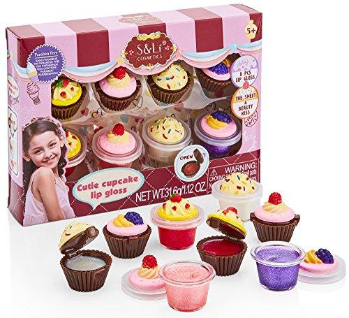 S & Li Kosmetik Cutie Cupcake 8 Stück Lipgloss Set (Zug-set Fall)