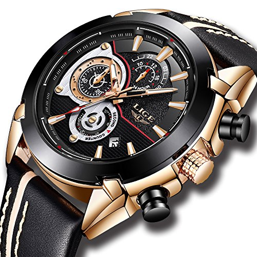 Relojes Hombres, Moda Reloj de Cuarzo Reloj de Pulsera de Cuero LIGE A