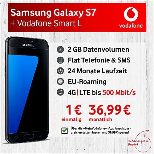 Samsung Galaxy S7 mit 32 GB internem Speicher, Vodafone Smart L inkl. 2 GB Highspeed Volumen mit max 500 Mbit/s inkl. Telefonie- und SMS-Flat, EU-Roaming, 24 Monaten min. Laufzeit, mtl. € 36,99