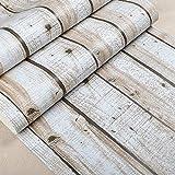 ACCEY Carta da parati vintage in legno di pallet 3d Pannelli in legno Carta da parati Vinile PVC Plance di legno Rivestimento murale @ W52104_10mx53cm