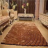 DDLANY Mode 3D Stereo Seidenteppich Schlafzimmer Wohnzimmer Couchtisch volle Shop großer Teppich (Farbe: Camel, Größe: 1,2 * 1,7 m)