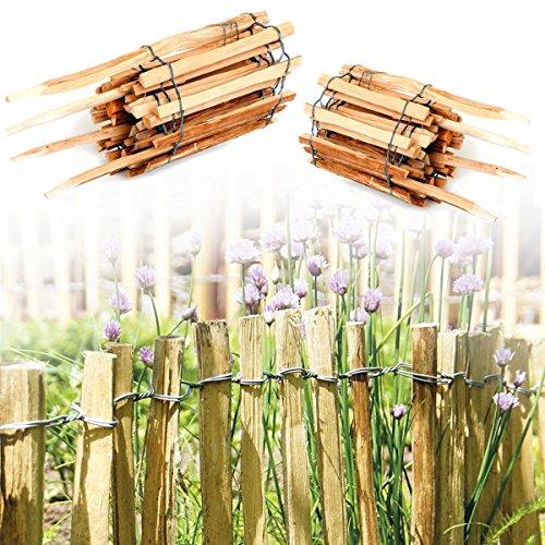 Rollzaun zum Stecken aus Haselnuss Holz · Staketenzaun Rollboarder als Beeteinfassung zur Umrandung und Abgrenzung von Beet und Weg