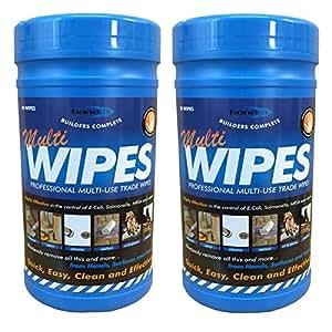 (2 tubes de Bond lingettes de nettoyage professionnel pour les mains à l'huile de graissage peinture Encre bitume lingettes