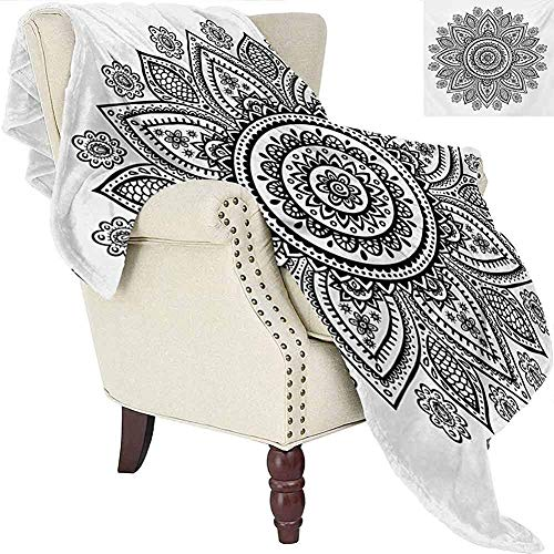 mallcentral-EU Henna Blanket Sunflower Pattern im Doodle-Stil mit geometrischen Elementen Circles and Lines Print Black White
