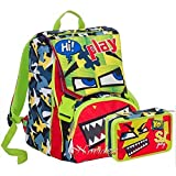 SCHOOL PACK ZAINO SEVEN SJ GANG BOY FACE ESTENSIBILE VERDE + ASTUCCIO 3 ZIP
