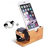 Adurei Stand con iPhone y Apple Watch Bambú Charging Estación Soporte Compatible con iPhone 12 11 Pro MAX XS X i8 i7 i6/Plus