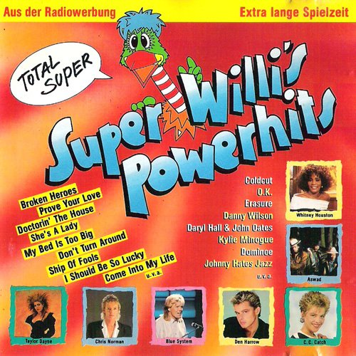 super willi's powerhits (CD Compilation, 20 Tracks) taylor dayne - prove your love / whitney houston - where do broken hearts go / blue system - my bed is too big / joyce sims - come into my life / coldcut featuring yazz & the plastic population - doctorin' the house / scott fitzgerald - go / okay - education / den harrow - born to love etc.