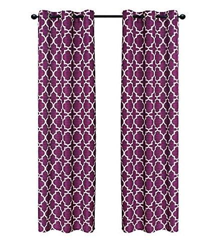 Indecor Home Design Grommet Top Faux Slub Window Panel, Lattice, Burgundy