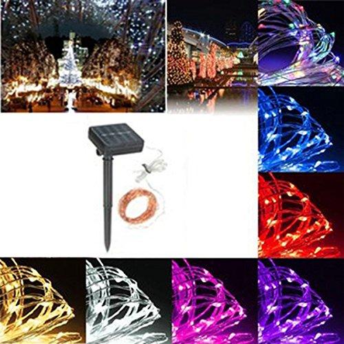 MASUNN 13 120LED solaire cuivre String fée lumière mariage fête de Noël jardin lampe extérieure IP67-blanc