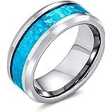 Bling Jewelry Simulato Opale Blu Coppie Intarsio Fede Nuziale Anello di Tungsteno Peri Uomini per Donne Il Tono Dell'Argento