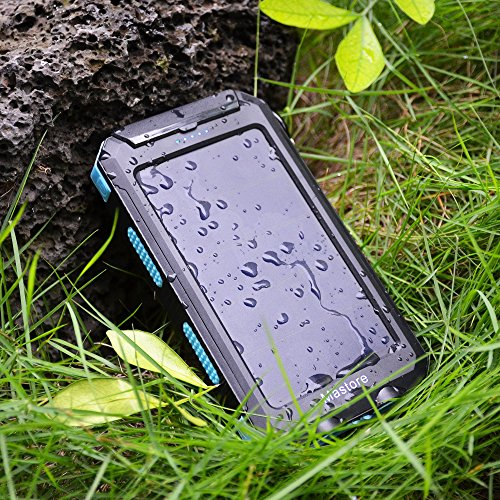 10000mAh Portable Solar Battery Charger Power Bank Rain Resistant Dust-proof and Shock-Resistant Dual USB Port Output External Battery Backup for iPhone iPad Cell Phone Smart Phone Tablet Camera etc.- Mastore DN23 (Blue)