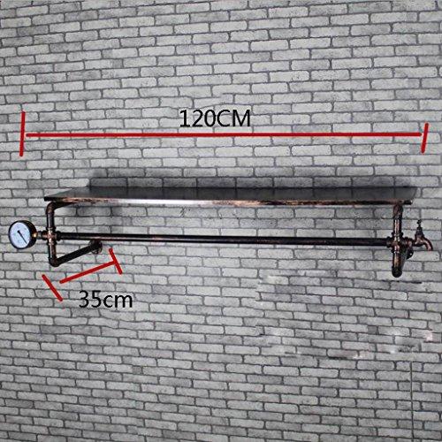 GYP Retro Eisen-Wasser-Rohre Regal-Kleidung-Speicher-Regal-Wand-seitliche Aufhänger-Wand-hängende Kleidung-Klempnerarbeit-hängende Kleidung-Regal 120 * 35cm kaufen ( Farbe : #1 )