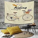 Tapestry,Hippie Tapiz,tapiz de pared con decoración para el hogar,Bicicleta, Boho Pop Art Ilustración de bicicleta antigua con una cesta d,para picnic Mantel o Toalla de Playa redonda 150 x 200 cm
