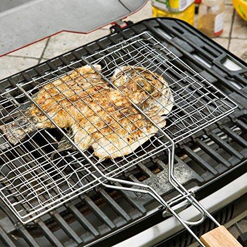 61no5qR0A6L - B & C. Raum 304 Edelstahl Grillkorb Drahtgitter Für Fisch Steak BBQ Grill Zubehör Mit Holzgriff silber