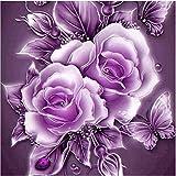 5D Stickerei Gemälde Strass eingefügt DIY Diamant Malerei Kreuzstich 3D Mit Steinen Katze Full Vollbild Diamond Groß Bild Kinder Rose Blumen (25*25cm, B)