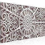 Bilder Mandala Abstrakt Wandbild 150 x 60 cm Vlies - Leinwand Bild XXL Format Wandbilder Wohnzimmer Wohnung Deko Kunstdrucke Braun 5 Teilig - MADE IN GERMANY - Fertig zum Aufhängen 109656a