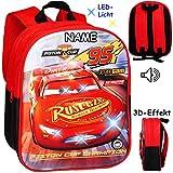 alles-meine.de GmbH 3D Effekt & LED Licht + Sound ! _ Kinder Rucksack - Disney Cars - Auto - inkl. Name - Lightning McQueen - Tasche - wasserfest & beschichtet - Leuchtend Geräus..