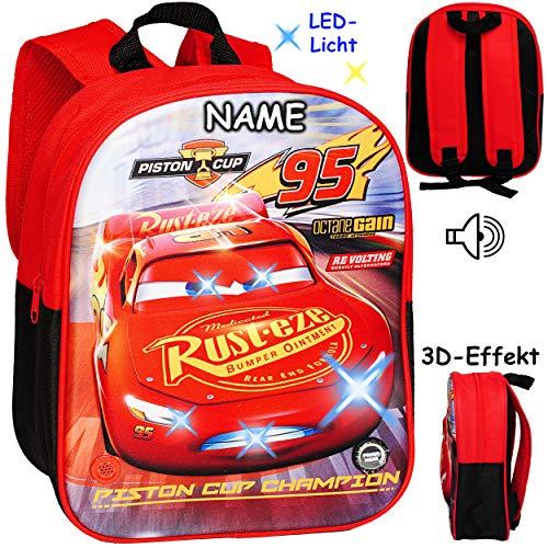 alles-meine.de GmbH 2 Stück _ 3D Effekt & LED Licht + Sound ! _ Kinder Rucksack - Disney Cars - Auto - inkl. Name - Lightning McQueen - Tasche - wasserfest & beschichtet - leucht.. (Mcqueen 3d Lightning)