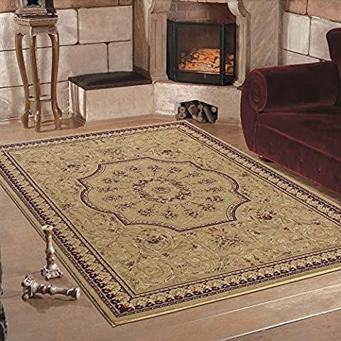Quality Oriental Traditional Bordered Classic Design Soft Beige Rug in 6 Sizes (160 x 230 cm (5'3'' x 7'7''))