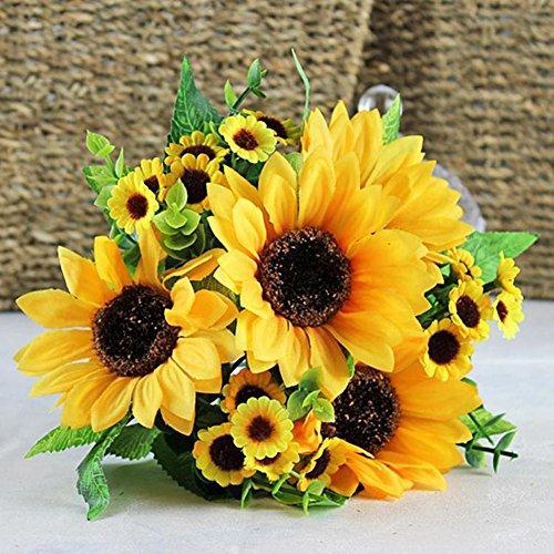 RENNICOCO Künstliche Sonnenblumenstrauß 7 Blumen pro Strauß Dekoration Hochzeit Dekoration Braut hält Blumen Blumendeko gelb