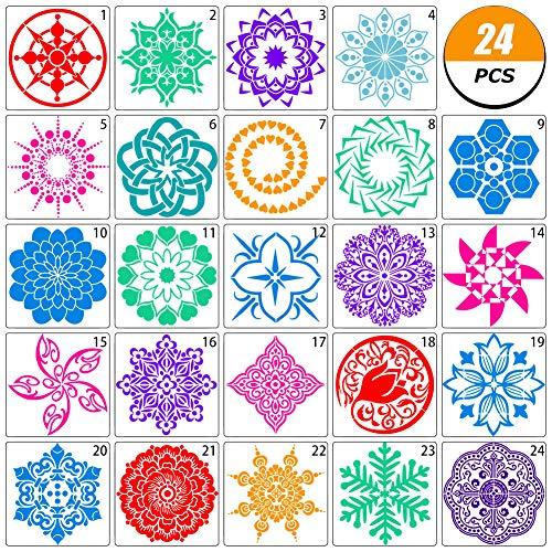 Auidy_6TXD Mandala-Schablonen-Set, Mandala, Punktmalvorlagen, Schablonen für DIY-Planer/Notebook/Tagebuch/Scrapbook/Karten/DIY-Zeichnung, Bastelprojekte