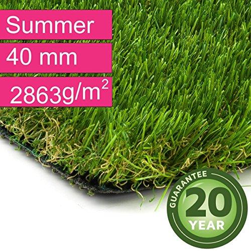 Kunstrasen Rasenteppich Summer für Garten - Florhöhe 40 mm - Gewicht ca. 2863 g/m² - UV-Garantie...