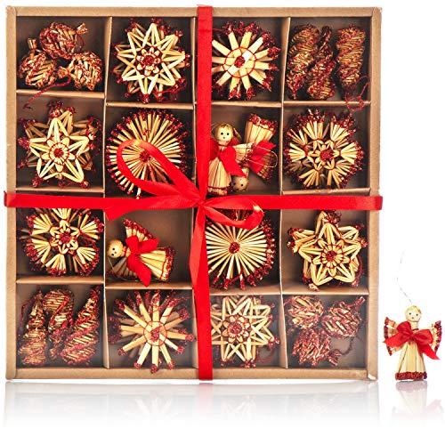 com-four® 56-teiliges Strohsterne Set - Christbaum-Schmuck - Stroh-Anhänger für den Weihnachtsbaum - natürlicher Christbaum-Behang - Weihnachtsdekoration